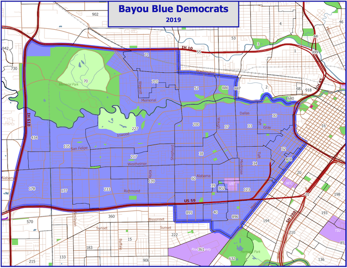 map of precincts included in Bayou Blue Democrats geographical area